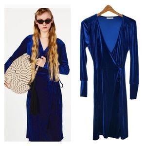 Zara Trafaluc Blue Velvet Wrap Dress Small